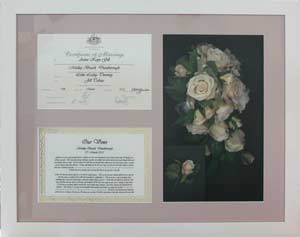 Wedding bouquet and certificate
